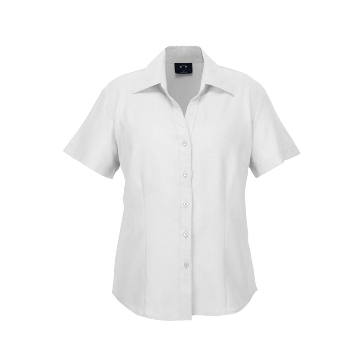 Ladies Plain Oasis Short Sleeve Shirt-White