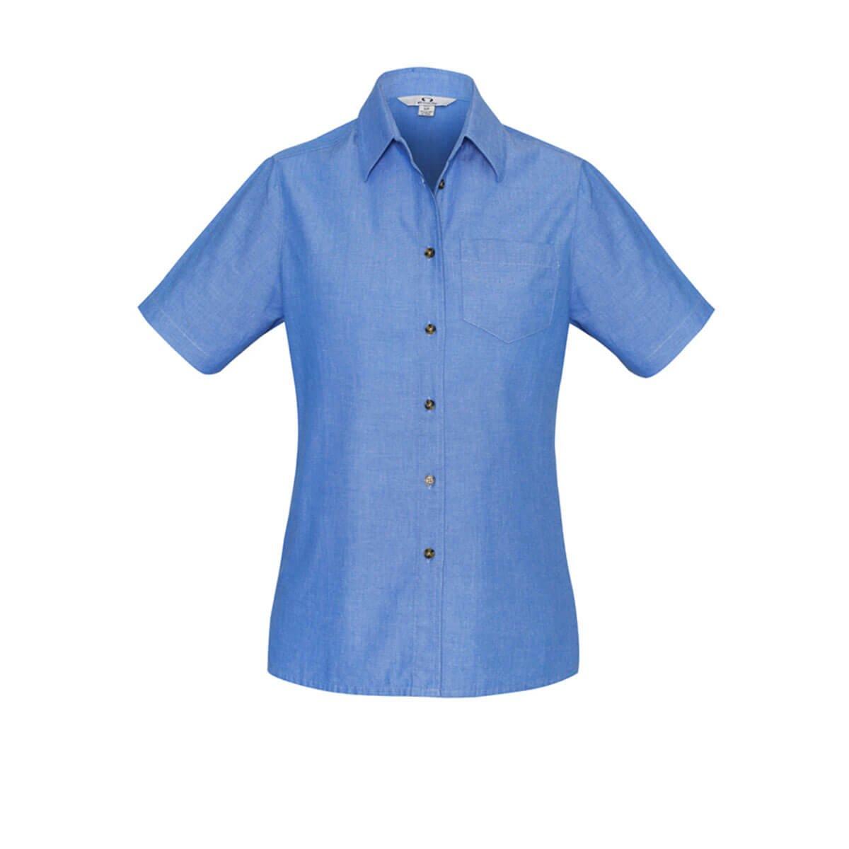 Ladies Wrinkle Free Chambray Short Sleeve Shirt-Chambray