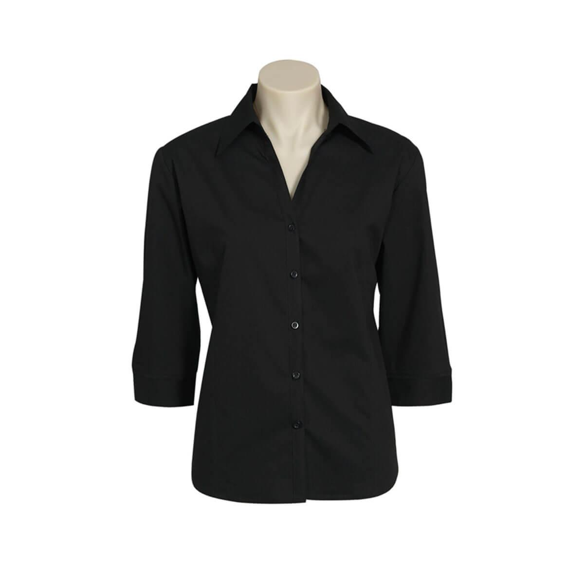 Ladies Metro 3/4 Sleeve Shirt-Black