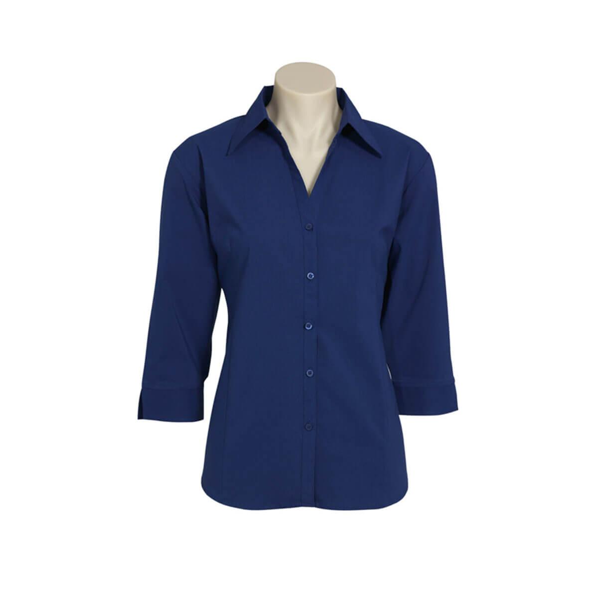 Ladies Metro 3/4 Sleeve Shirt-Royal