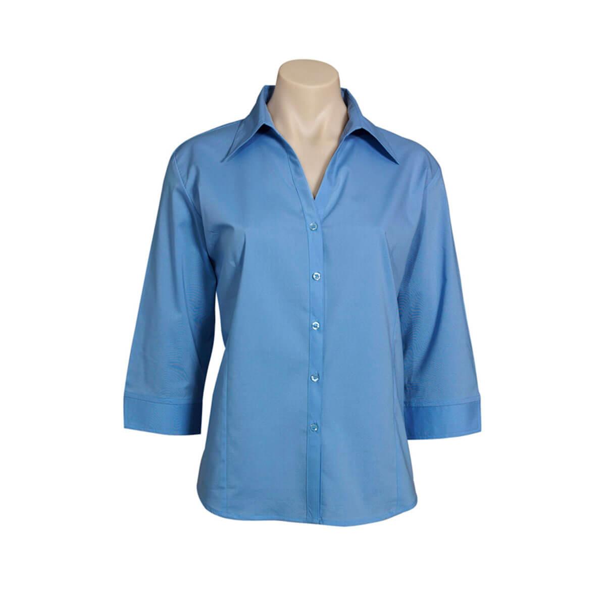 Ladies Metro 3/4 Sleeve Shirt-Mid Blue