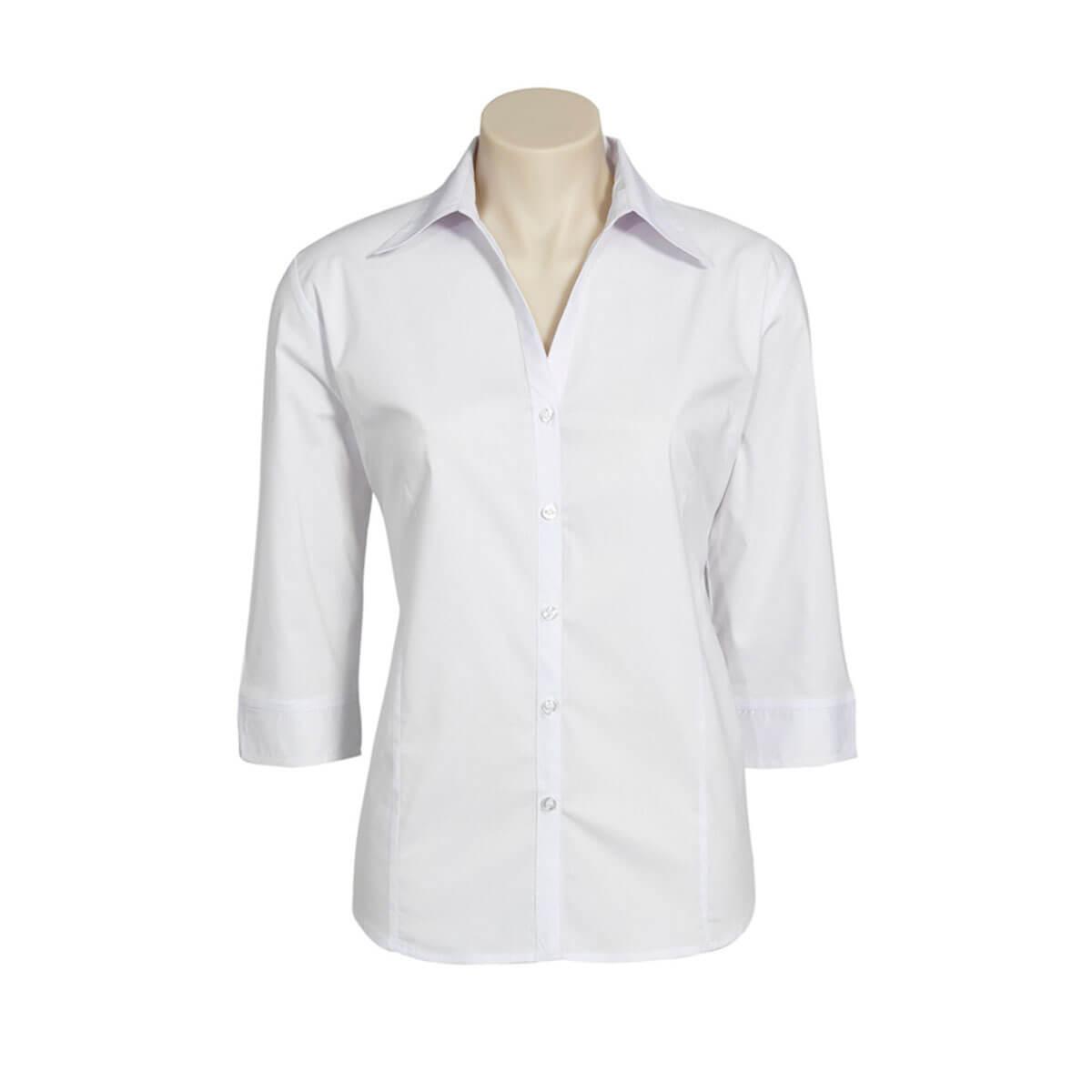 Ladies Metro 3/4 Sleeve Shirt-White