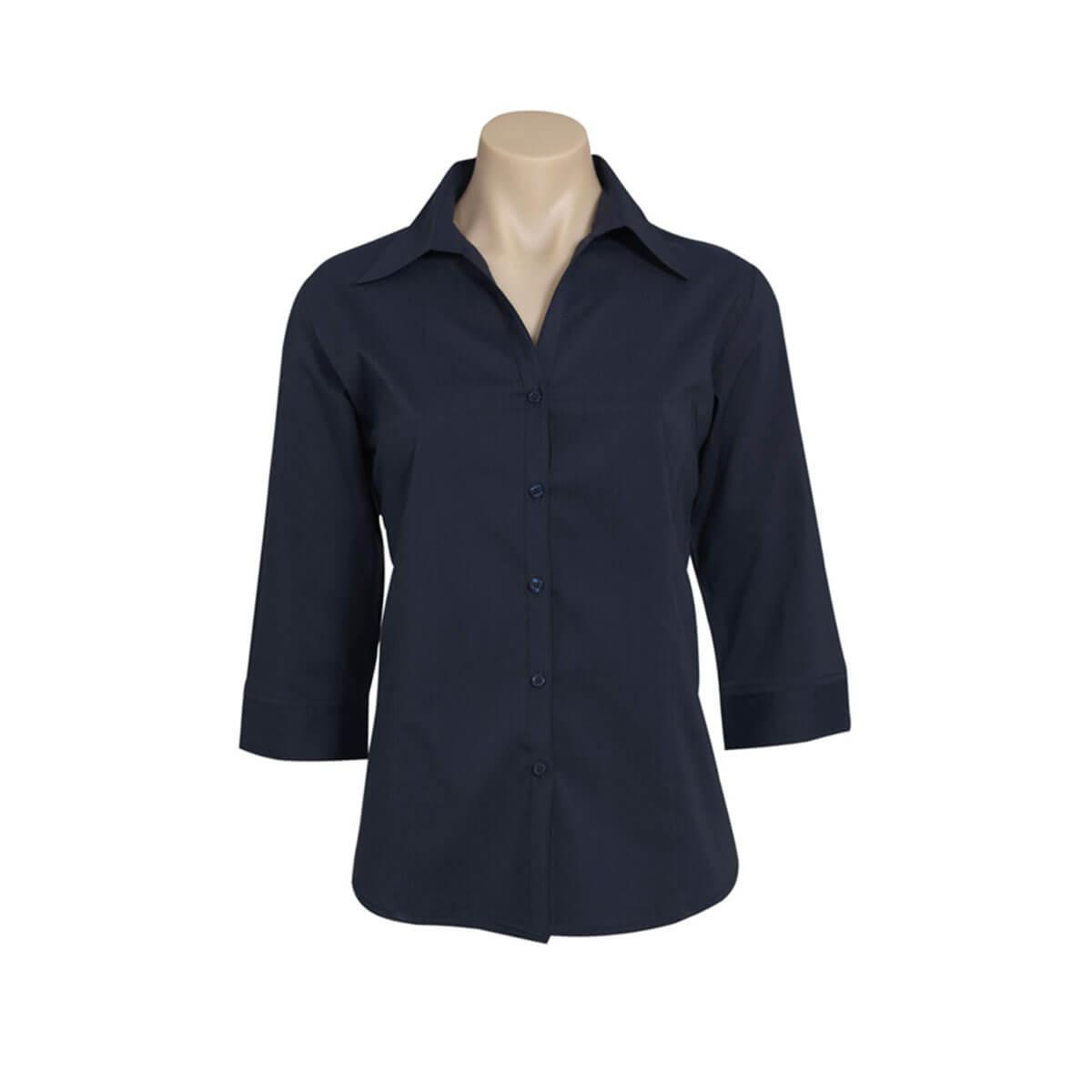 Ladies Metro 3/4 Sleeve Shirt-Navy