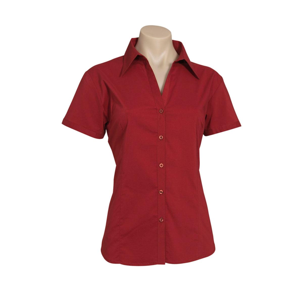 Ladies Metro Short Sleeve Shirt-Charcoal