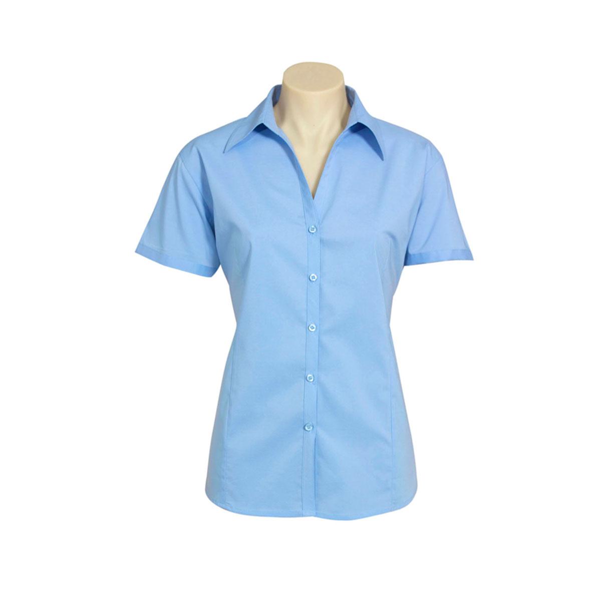 Ladies Metro Short Sleeve Shirt-Royal