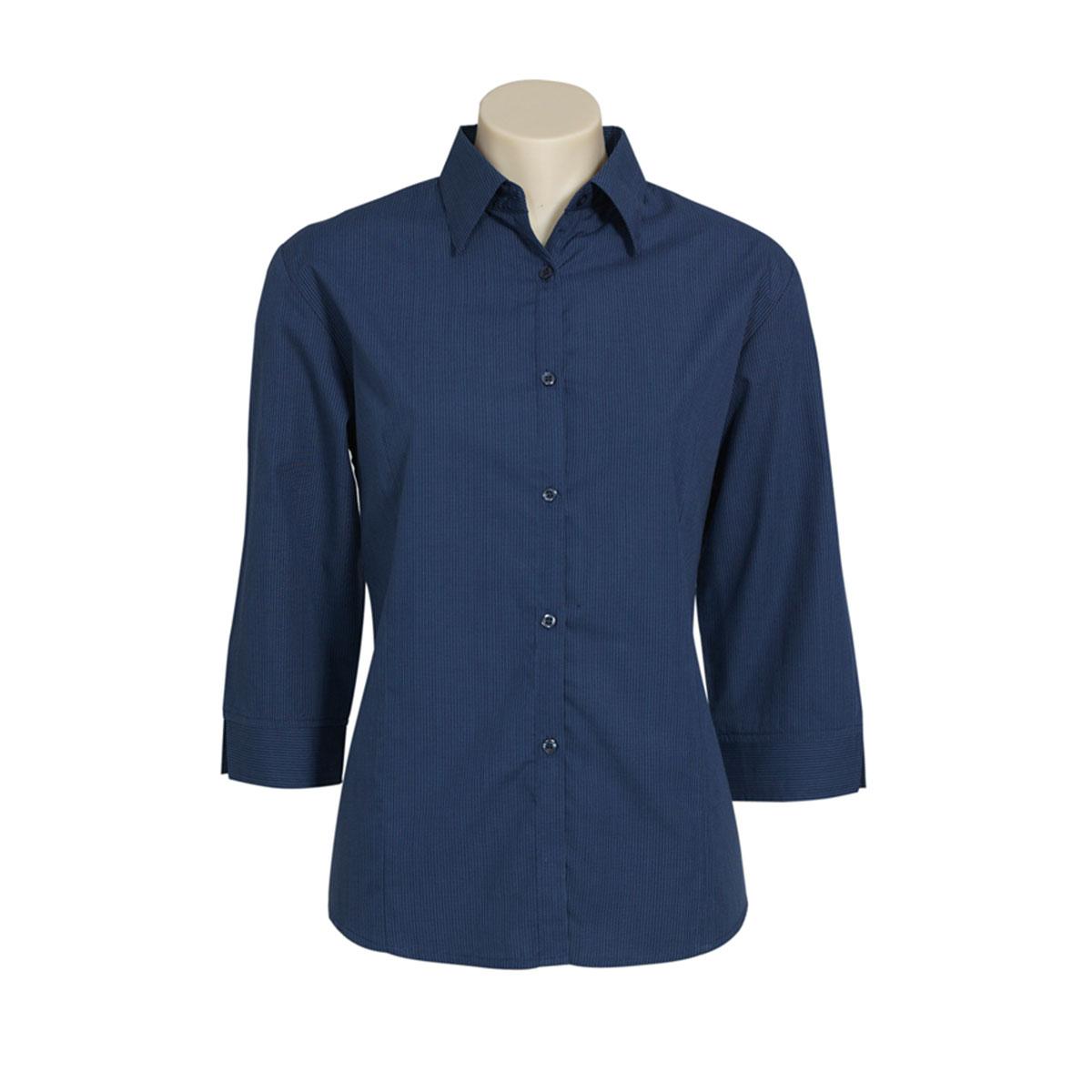 Ladies Micro Check 3/4 Sleeve Shirt-Navy