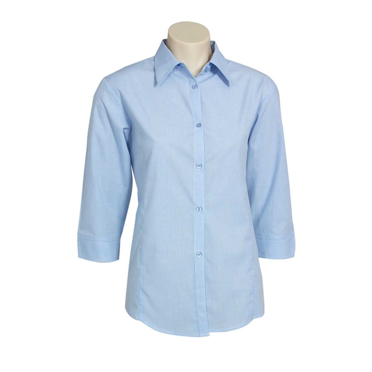 Ladies Micro Check 3/4 Sleeve Shirt-Sky