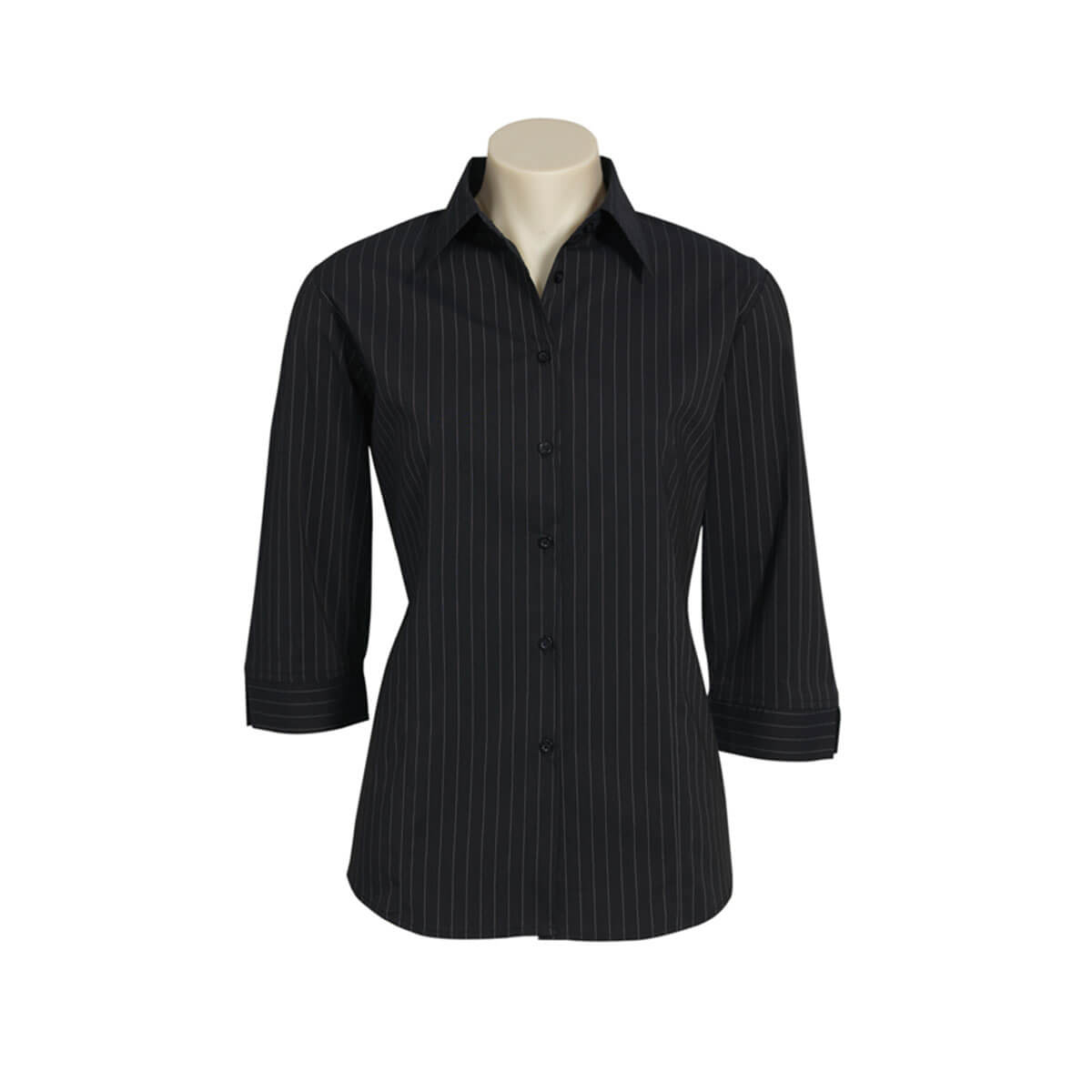 Ladies Manhattan 3/4 Sleeve Shirt-Black / White