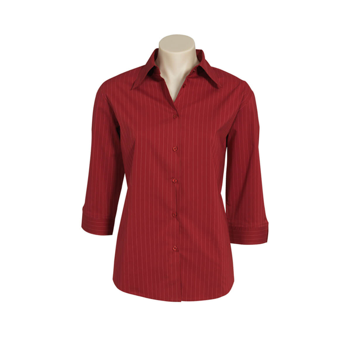 Ladies Manhattan 3/4 Sleeve Shirt-Cherry / White