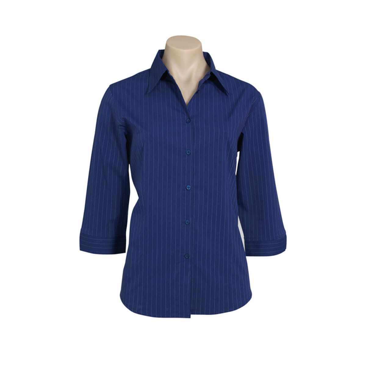 Ladies Manhattan 3/4 Sleeve Shirt-Mid Blue / Navy