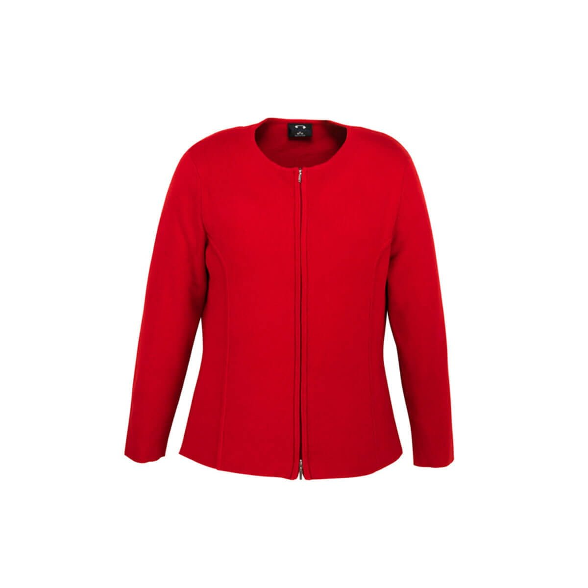 Ladies 2-Way Zip Cardigan-Red