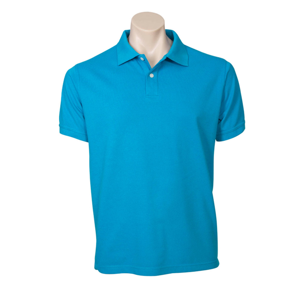 Mens Neon Polo-Cyan Blue