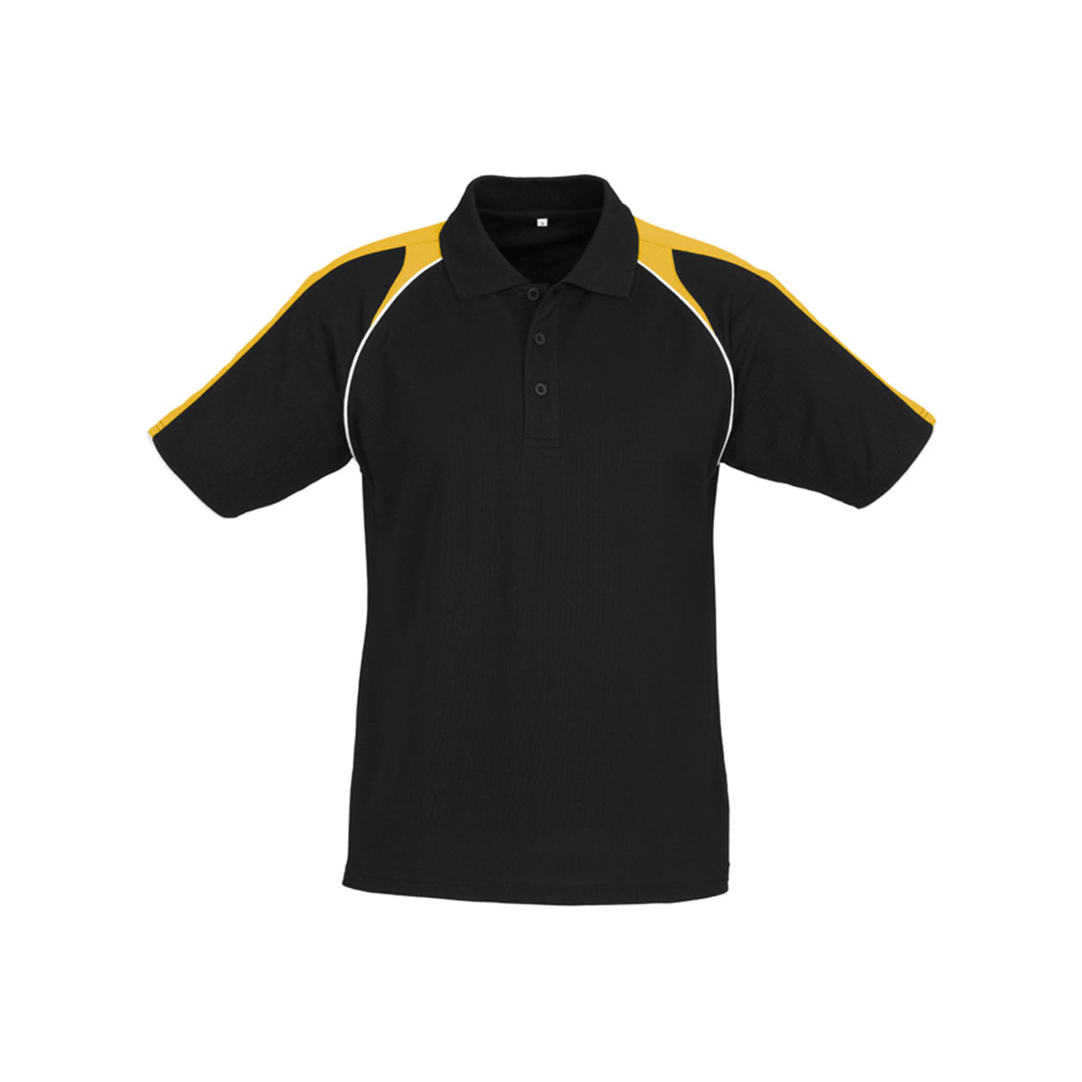 Mens Triton Polo-Black / Gold / White