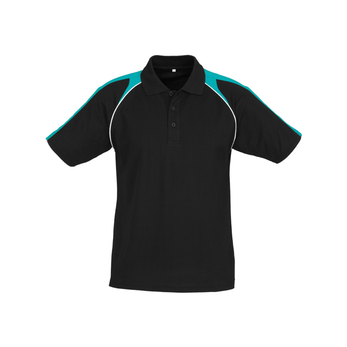 Mens Triton Polo-Black / Teal / White