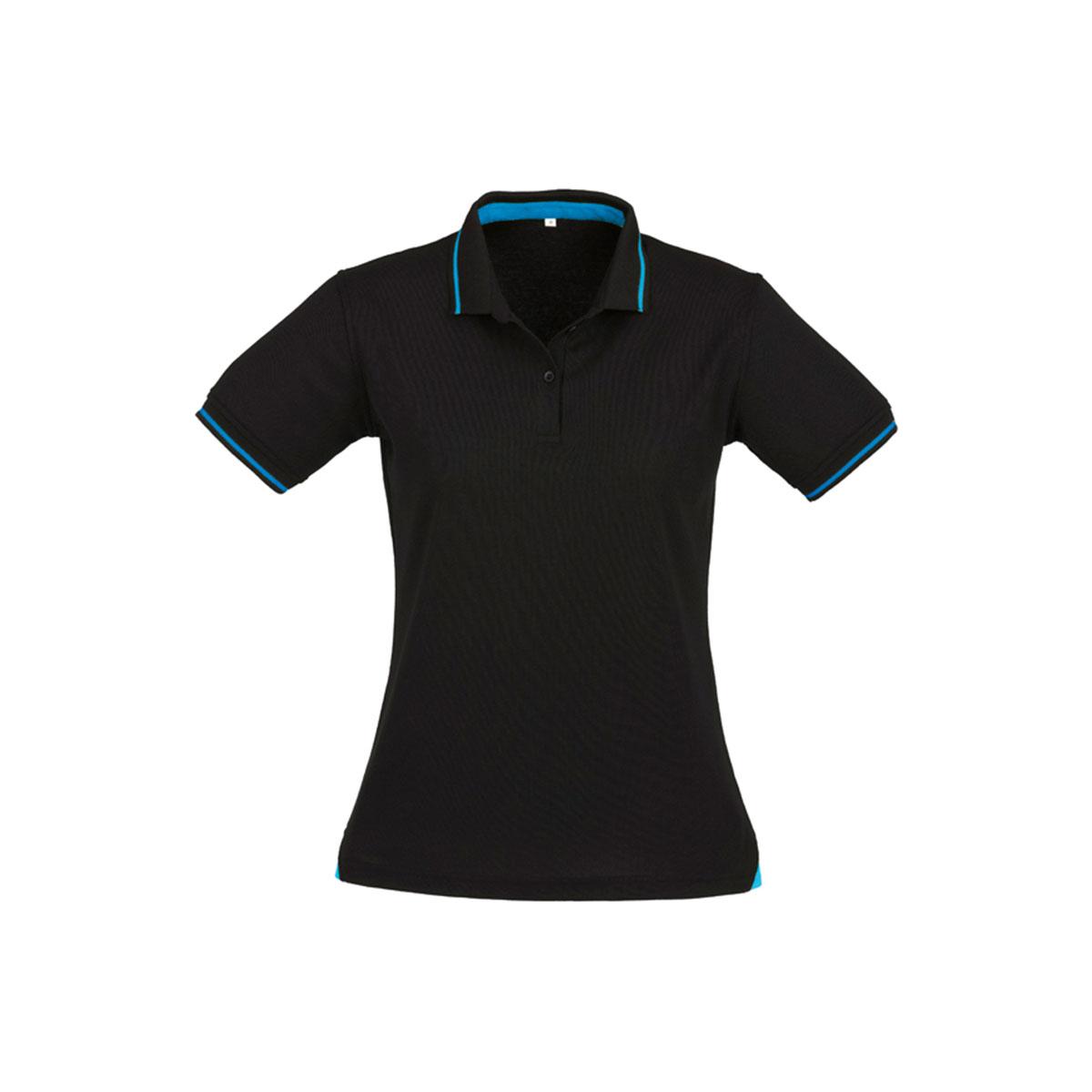 Ladies Jet Polo-Black / Cyan