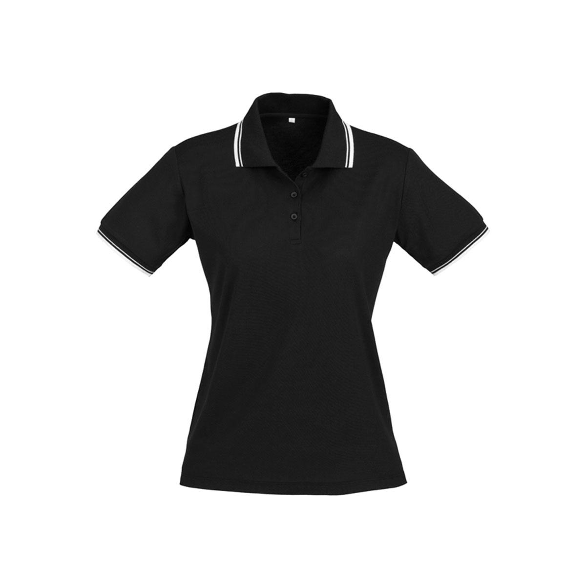 Ladies Cambridge Polo-Black / White / White