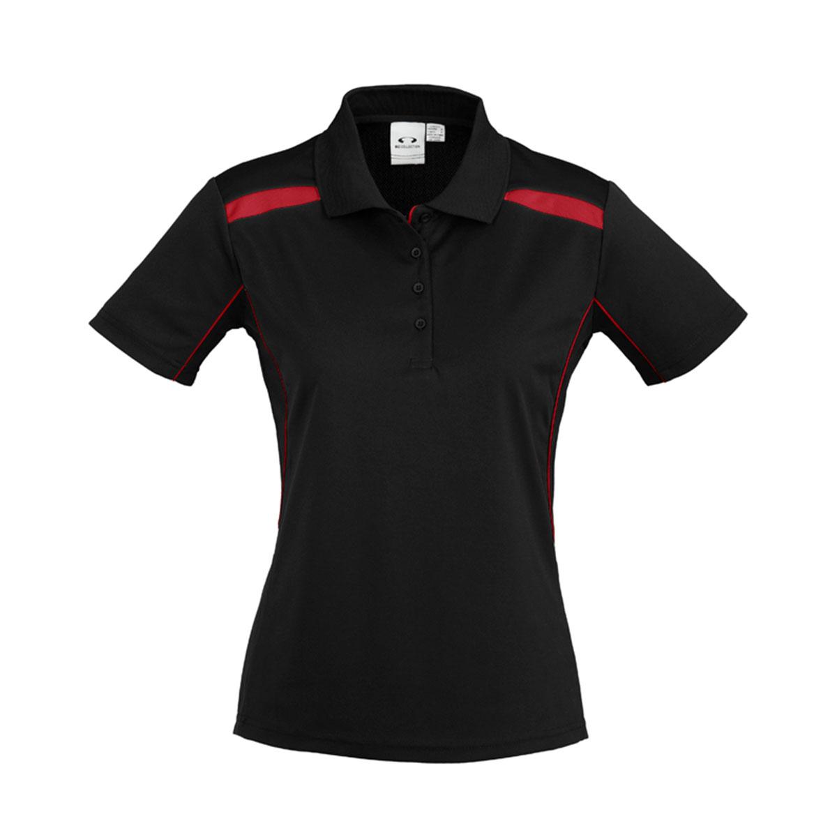 Ladies United Short Sleeve Polo-Black / Red