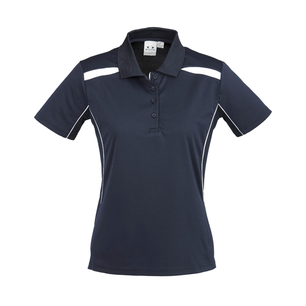 Ladies United Short Sleeve Polo-Navy / White