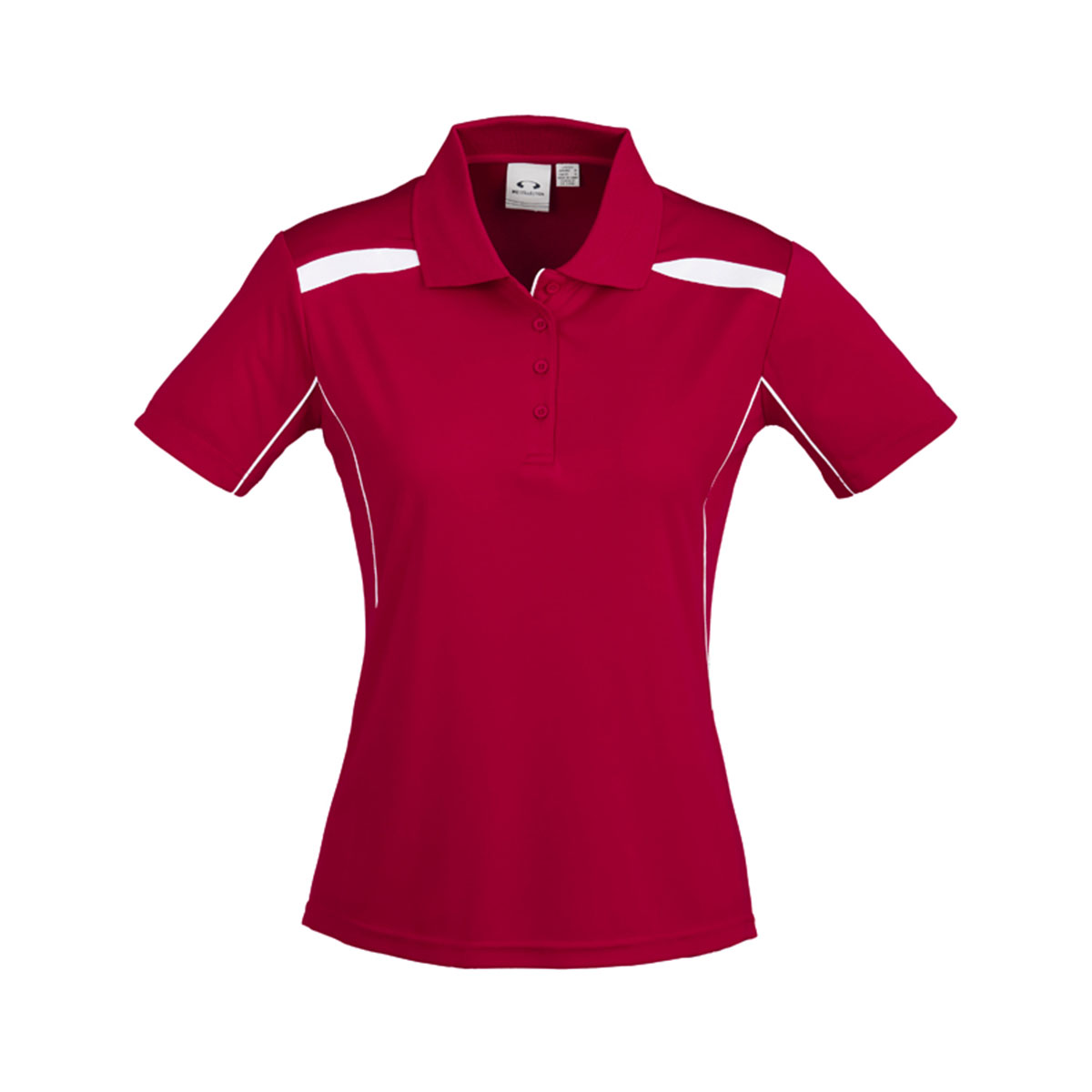 Ladies United Short Sleeve Polo-Red / White