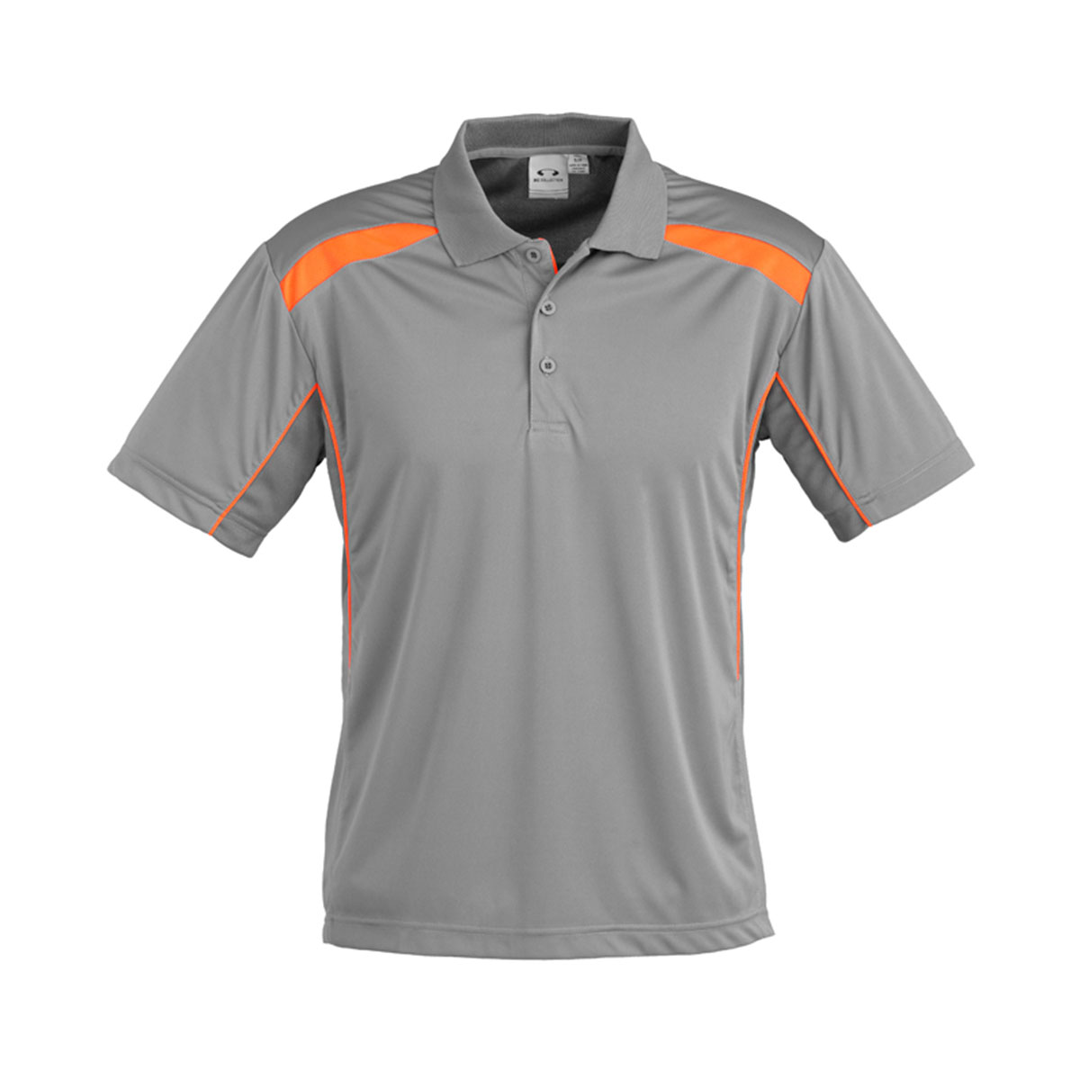 Mens United Short Sleeve Polo-Ash / Fluoro Orange