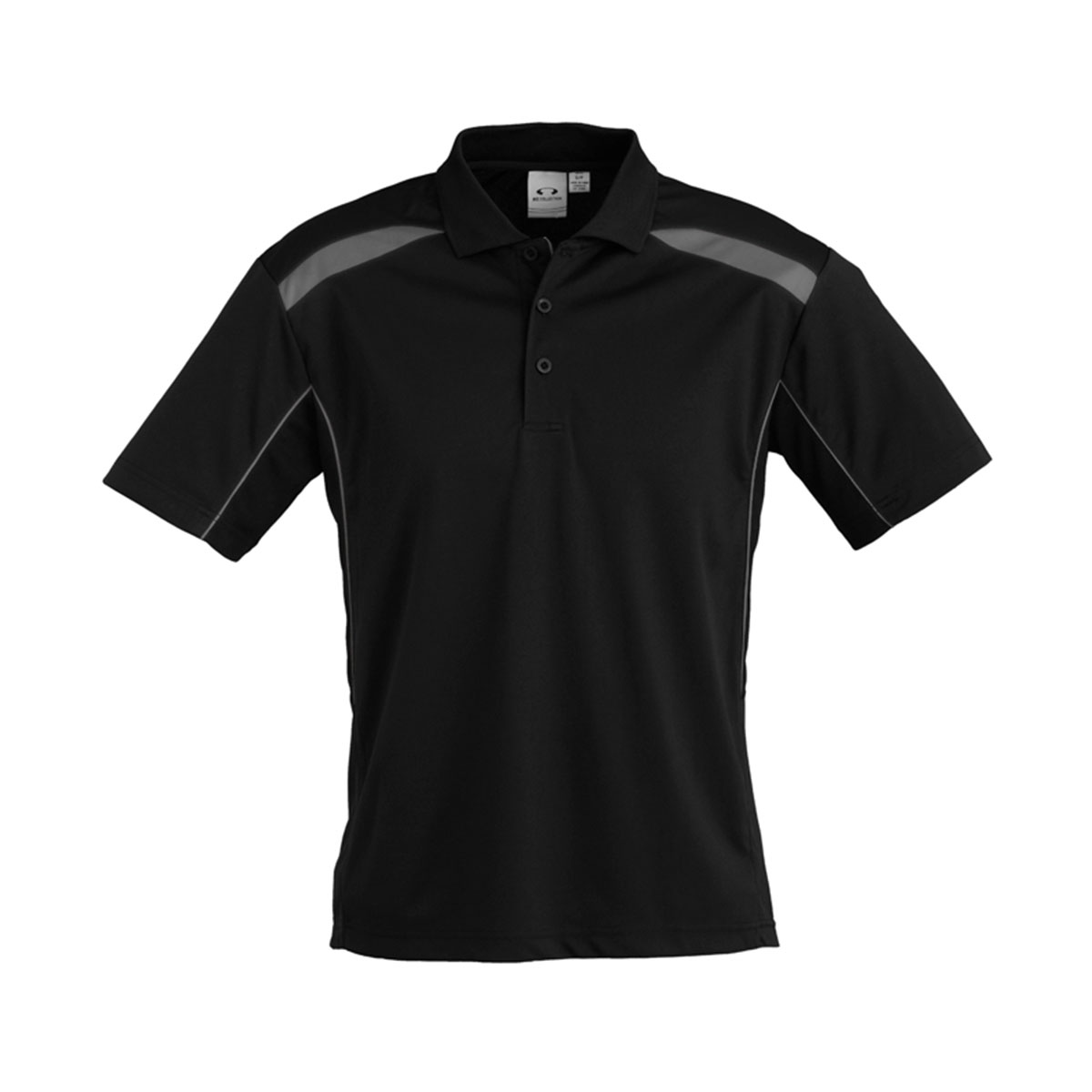 Mens United Short Sleeve Polo-Black / Ash