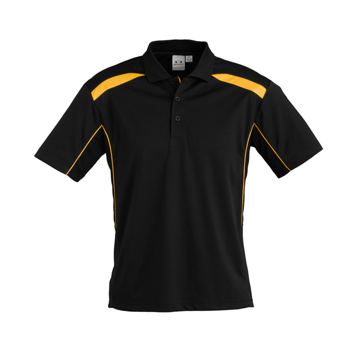 Mens United Short Sleeve Polo-Black / Gold