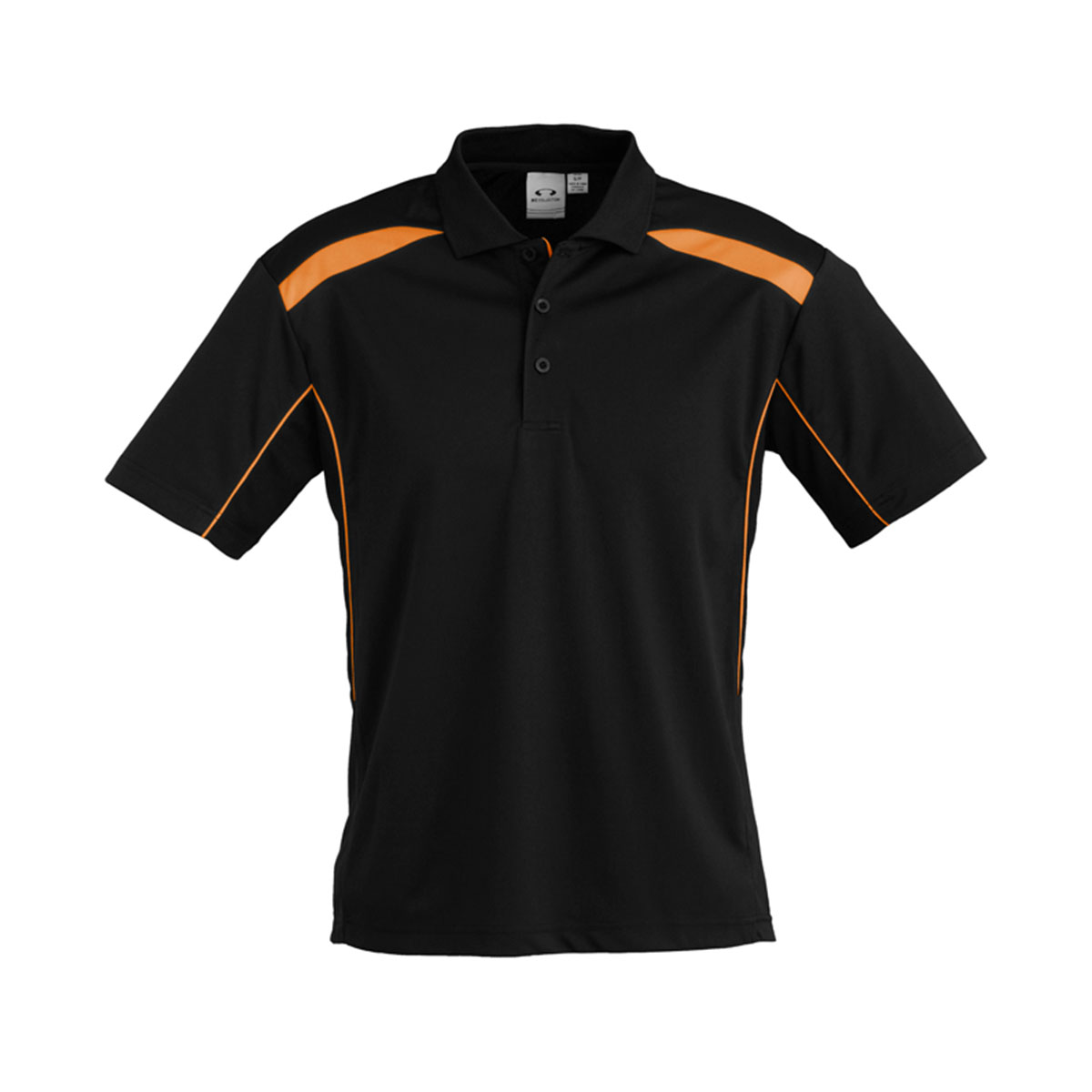Mens United Short Sleeve Polo-Black / Orange