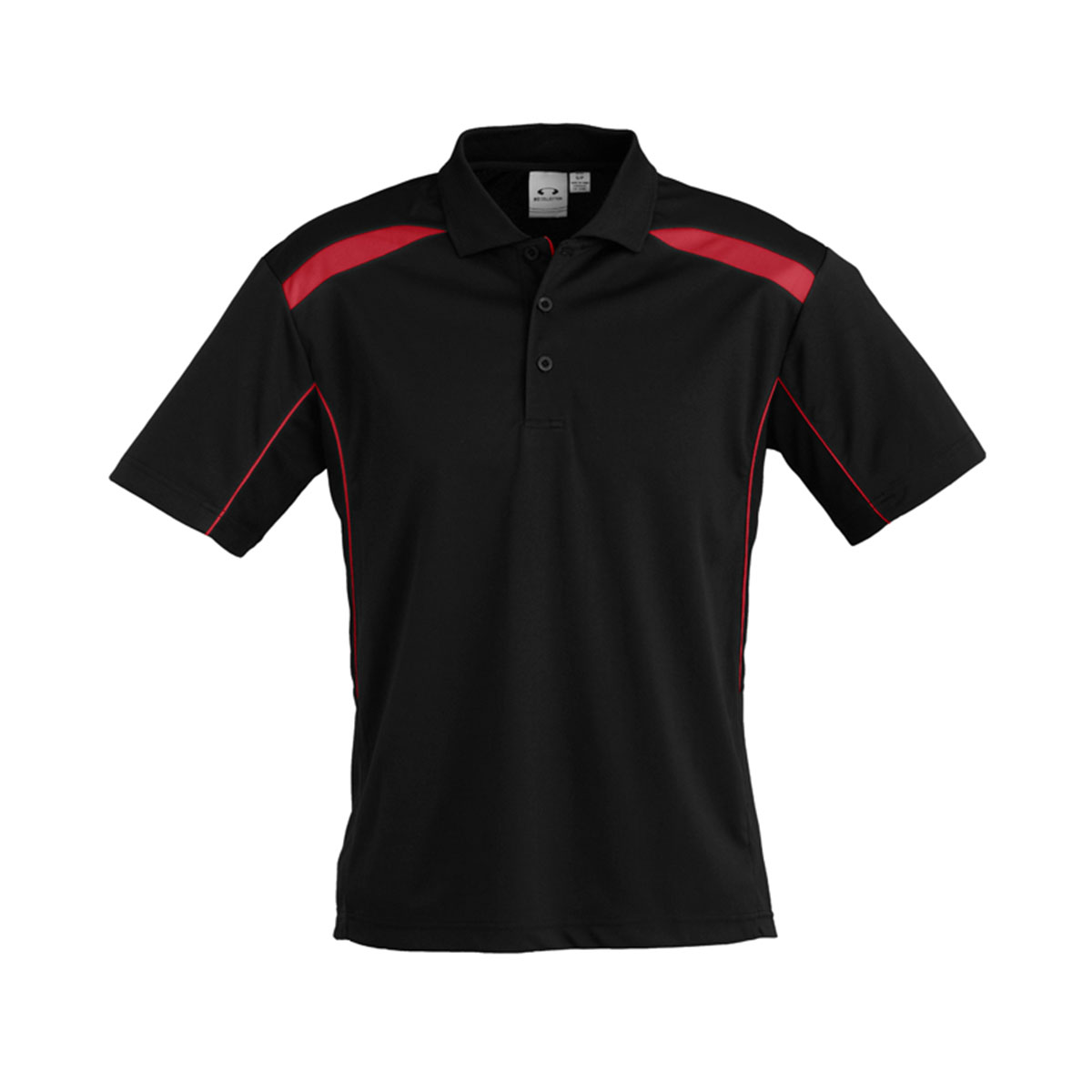 Mens United Short Sleeve Polo-Black / Red