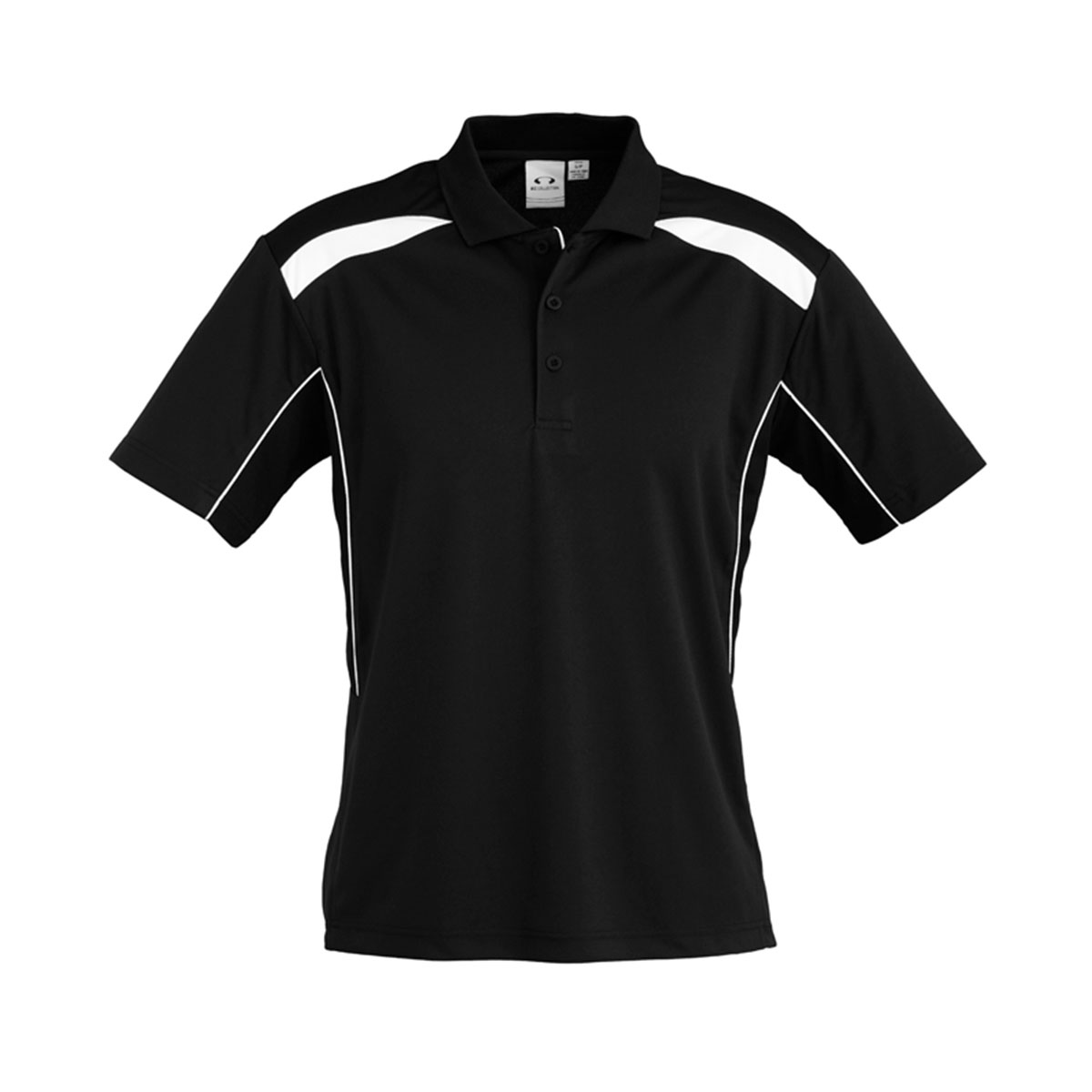Mens United Short Sleeve Polo-Black / White