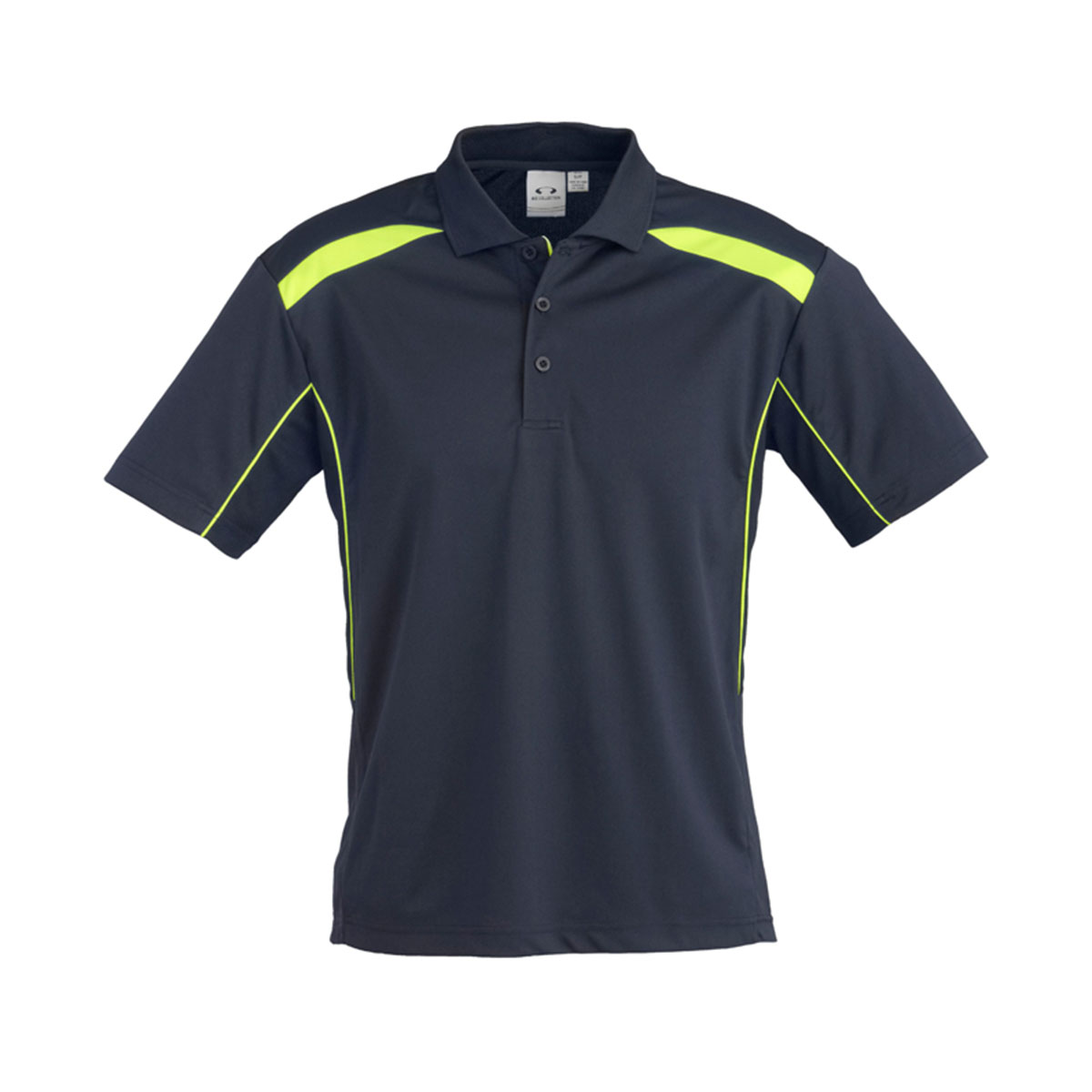 Mens United Short Sleeve Polo-Navy / Lime