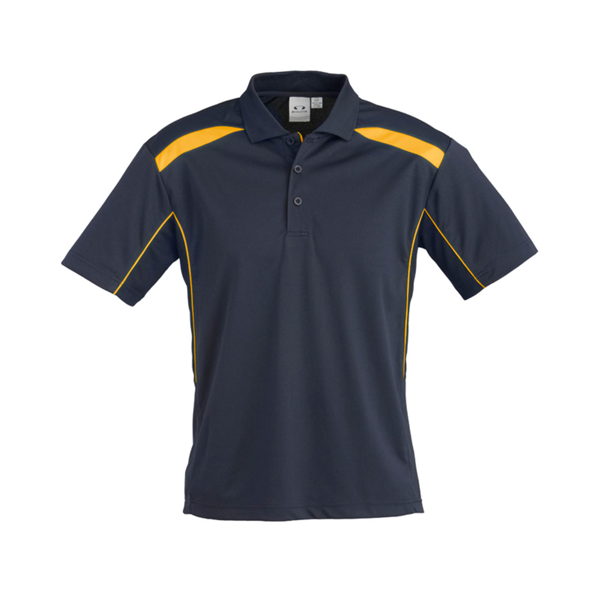 Mens United Short Sleeve Polo-Navy / Gold
