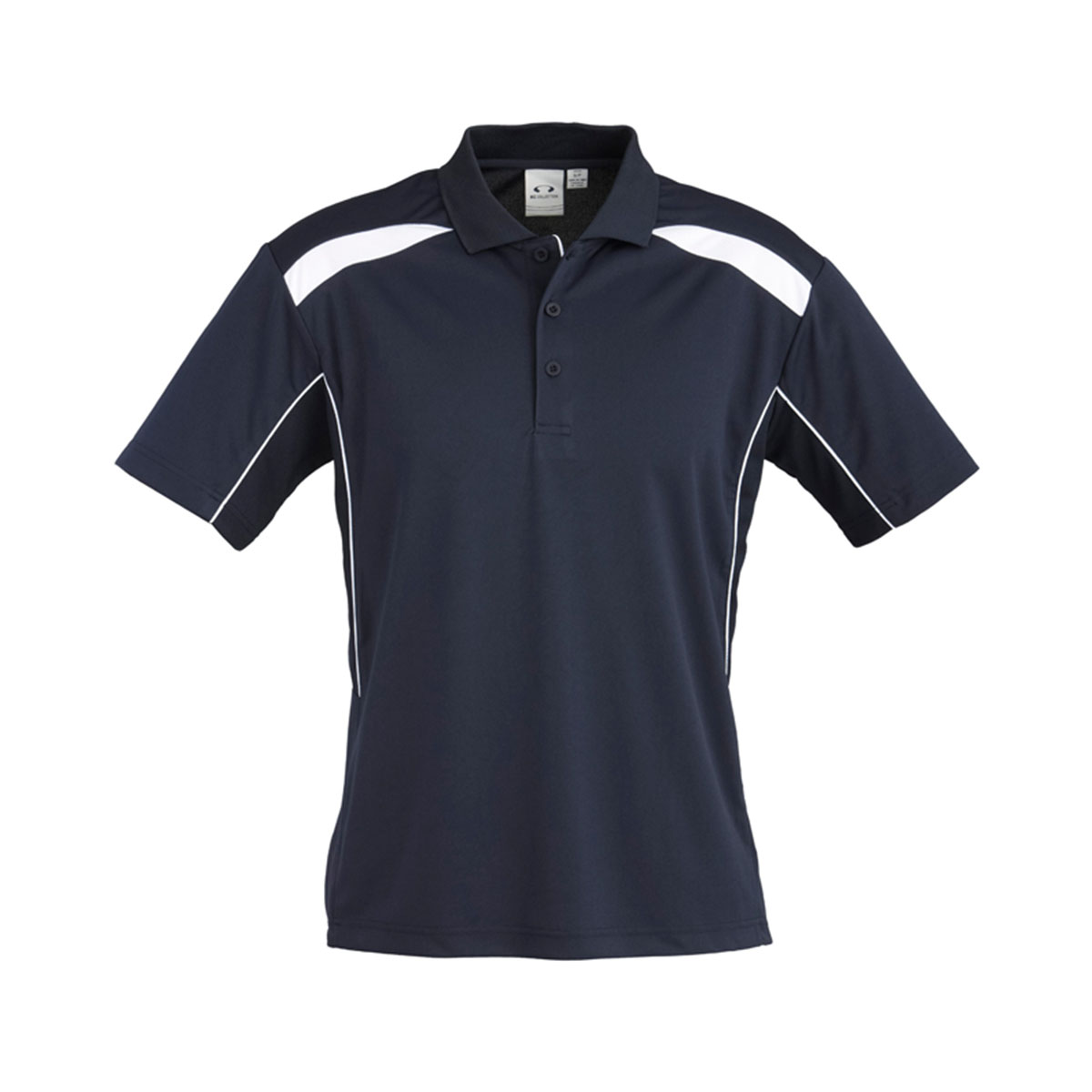 Mens United Short Sleeve Polo-Navy / White