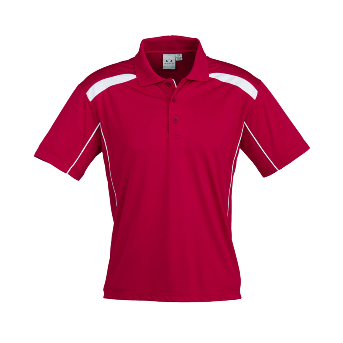 Mens United Short Sleeve Polo-Red / White