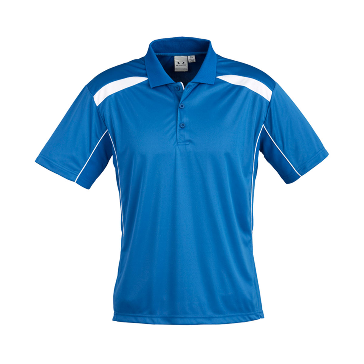 Mens United Short Sleeve Polo-Royal / White