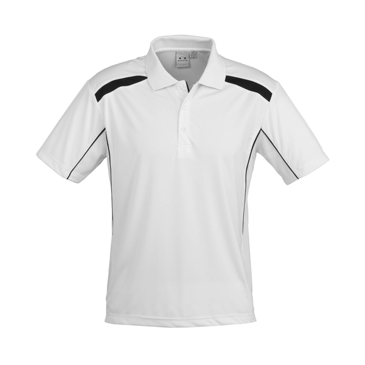Mens United Short Sleeve Polo-White / Black