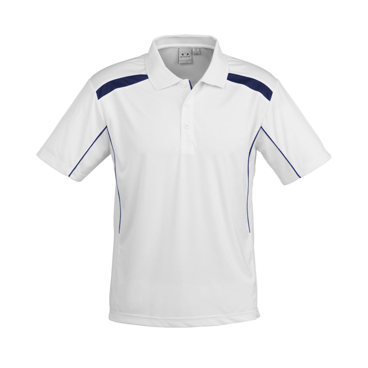 Mens United Short Sleeve Polo-White / Navy