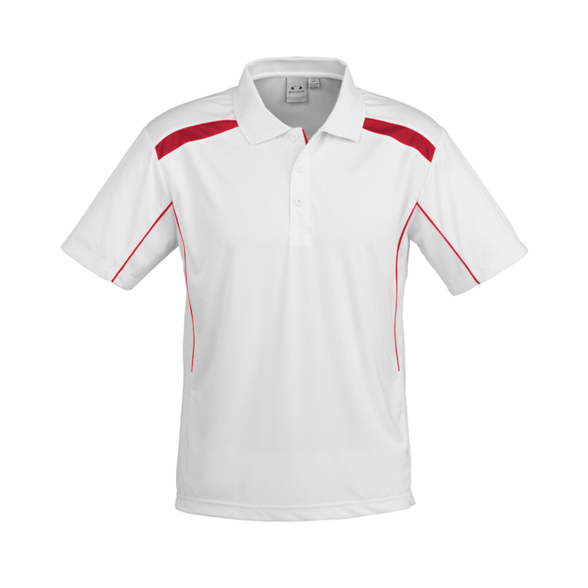 Mens United Short Sleeve Polo-White / Red