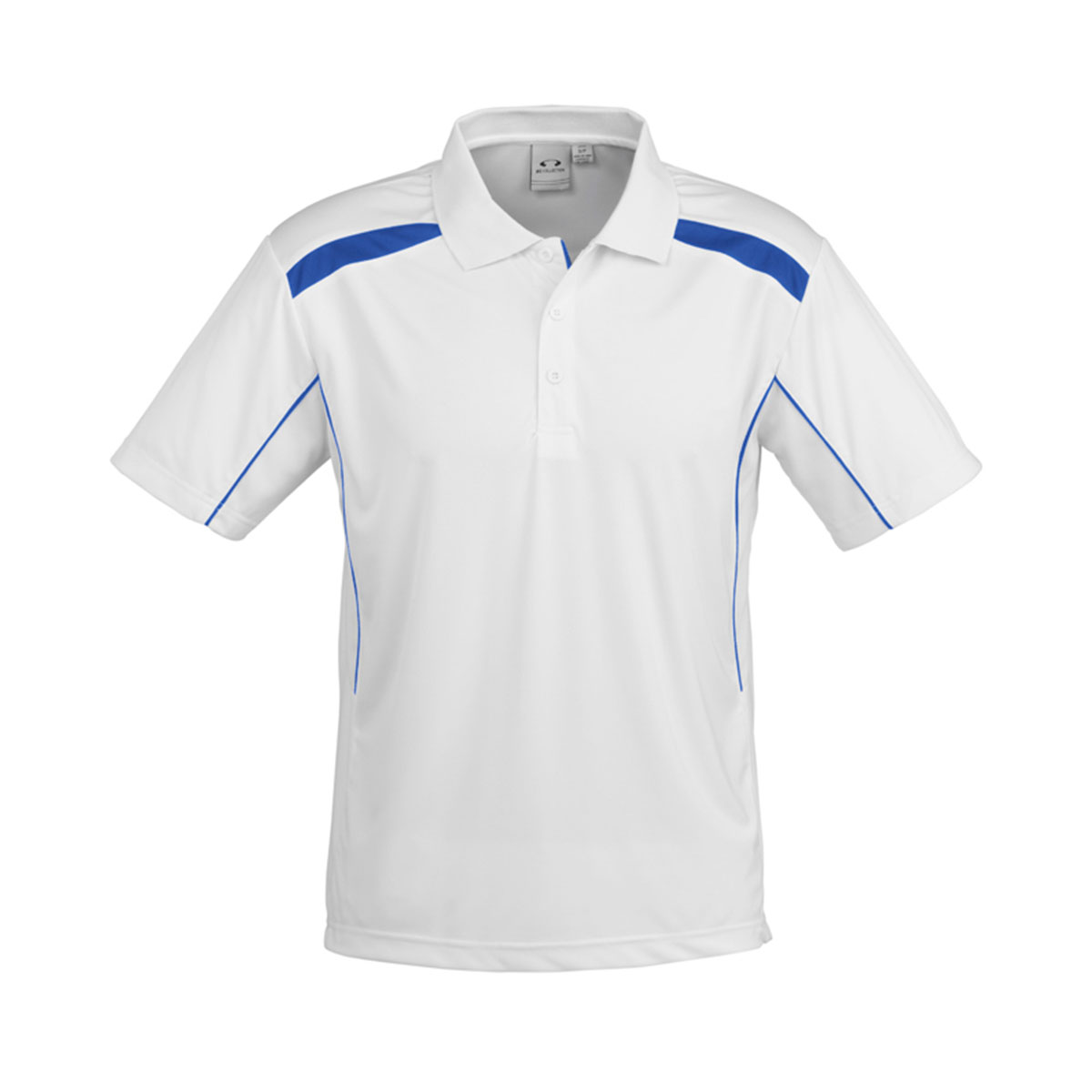 Mens United Short Sleeve Polo-White / Royal