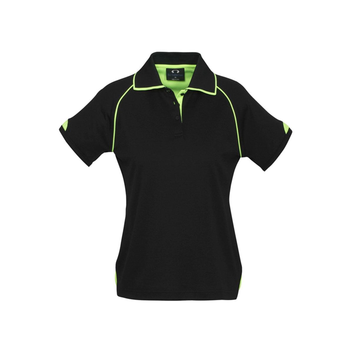 Ladies Fusion Polo-Black / Fluoro Lime
