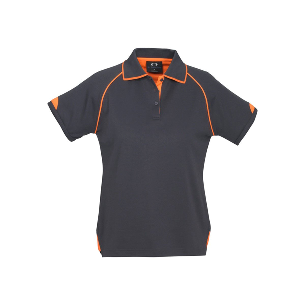 Ladies Fusion Polo-Grey / Fluro Orange