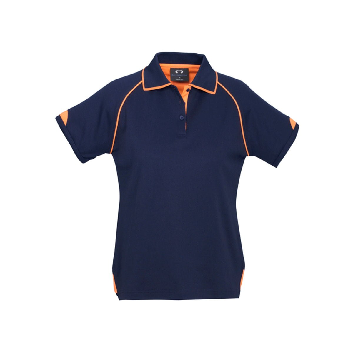Ladies Fusion Polo-Navy / Fluoro Orange