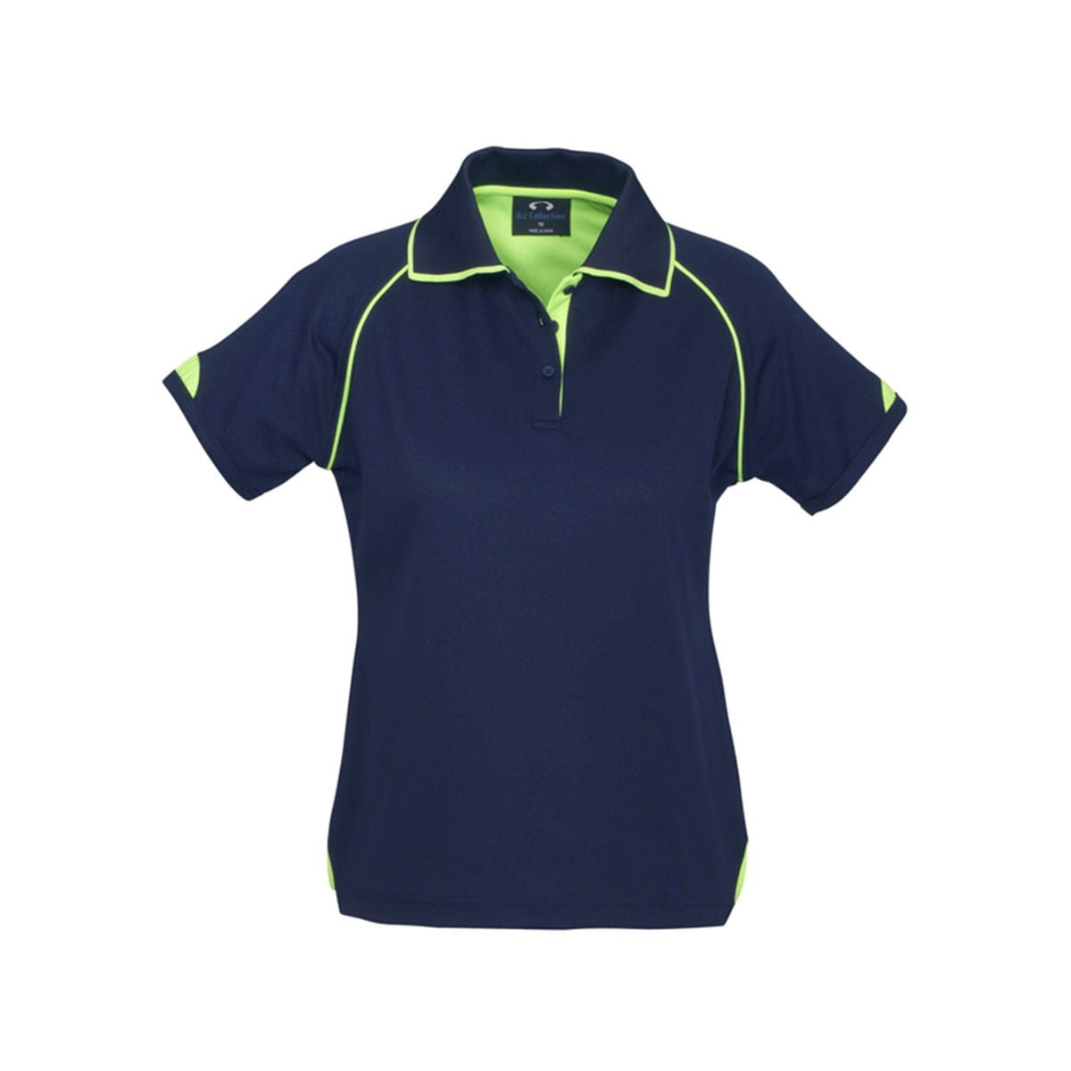 Ladies Fusion Polo-Navy / Fluoro Lime