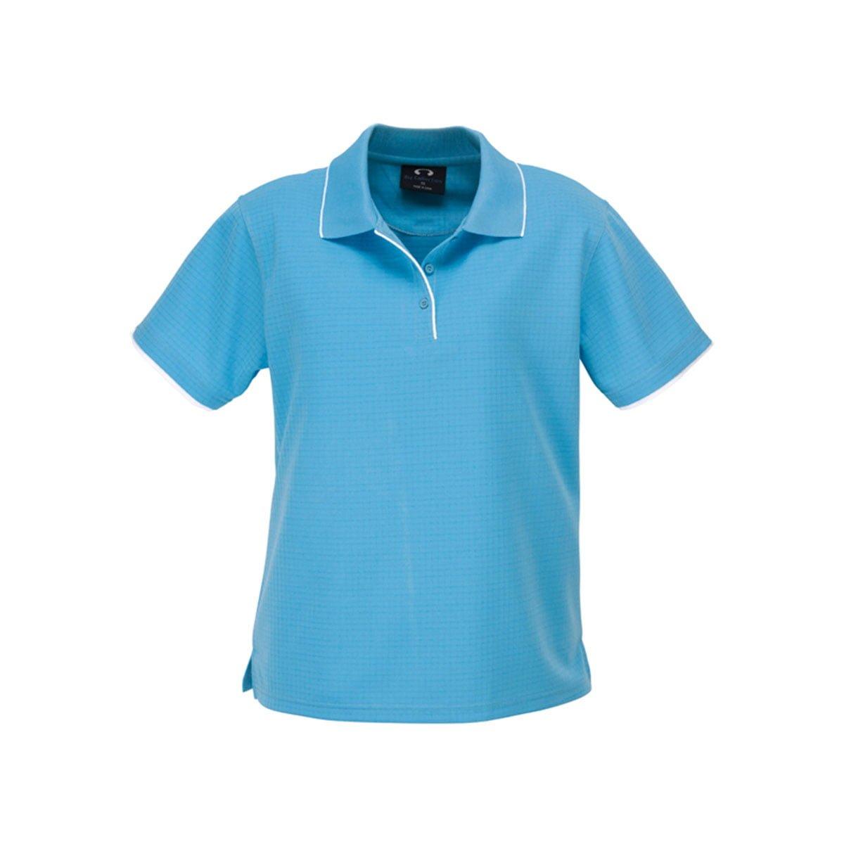 Ladies Elite Polo-Aqua Blue / White