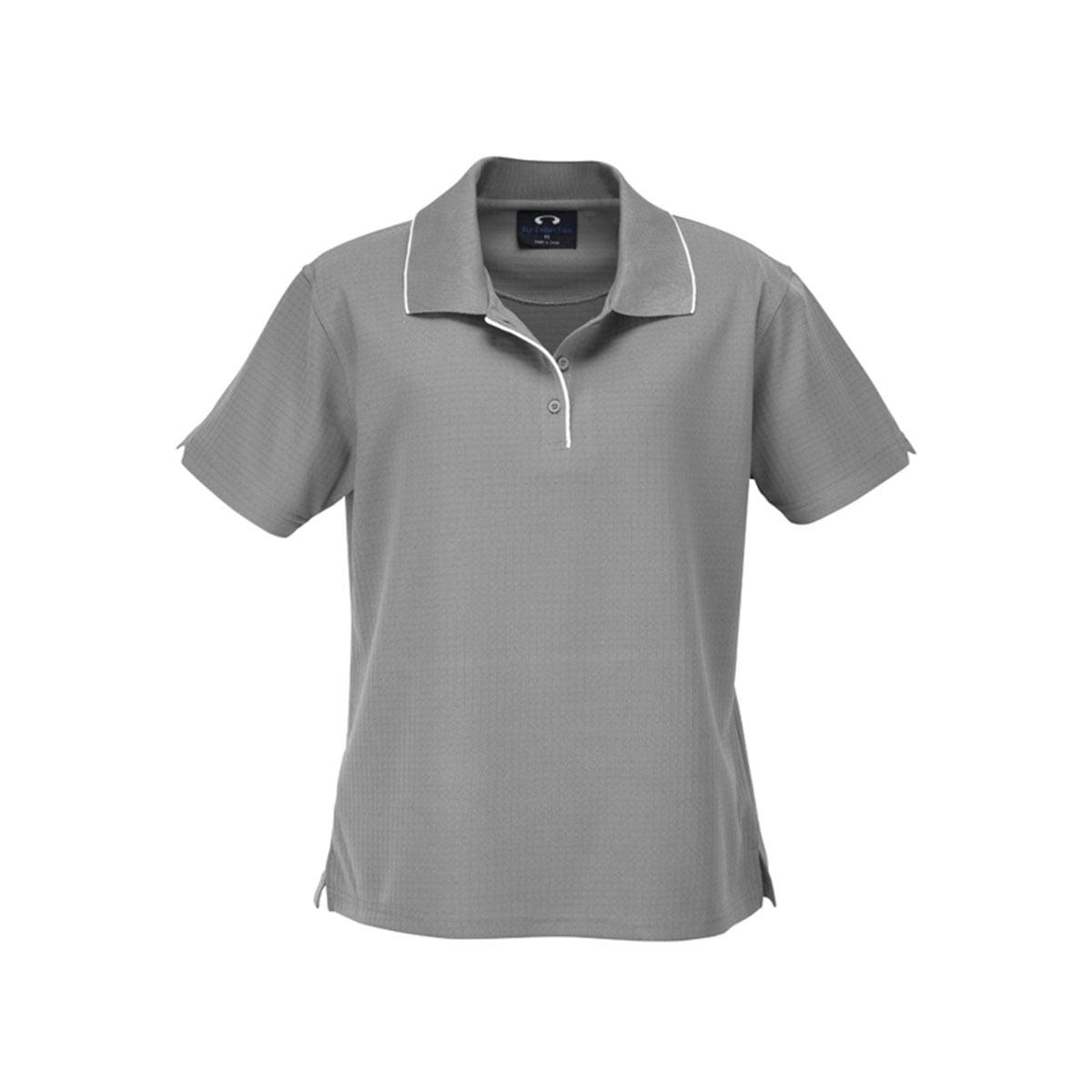 Ladies Elite Polo-Silver Grey / White