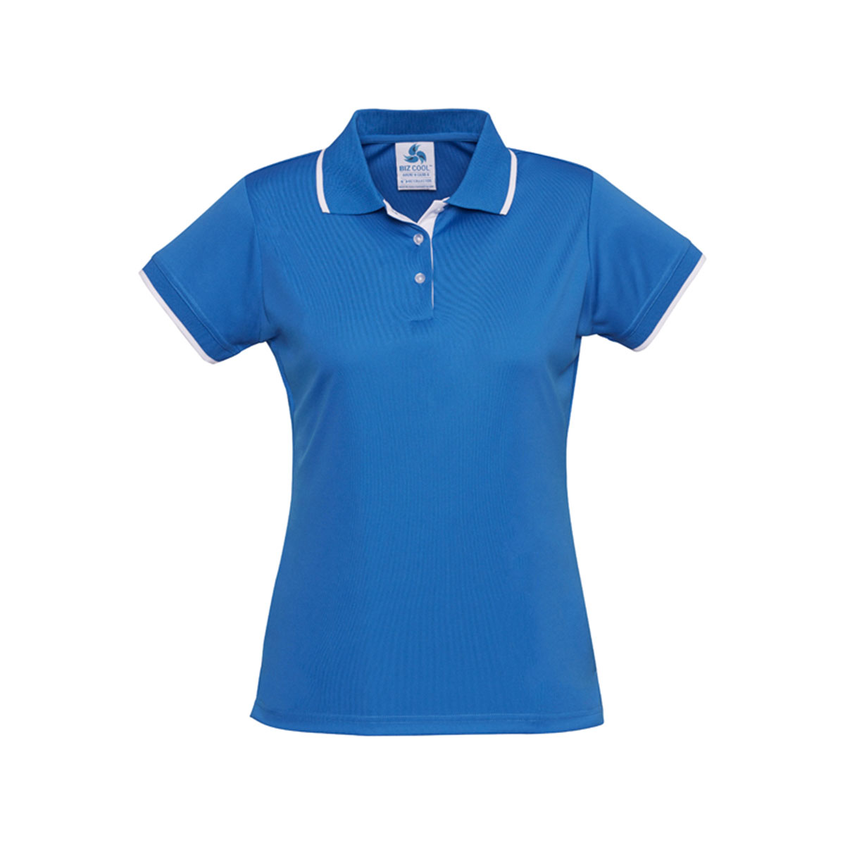 Ladies Miami Polo-Process Blue / White
