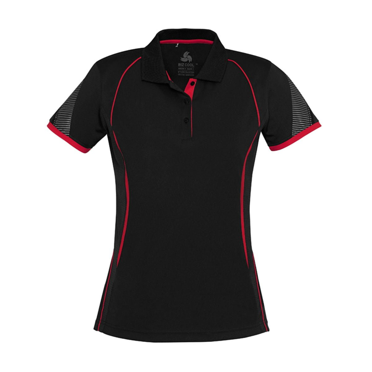 Ladies Razor Polo-Black / Red