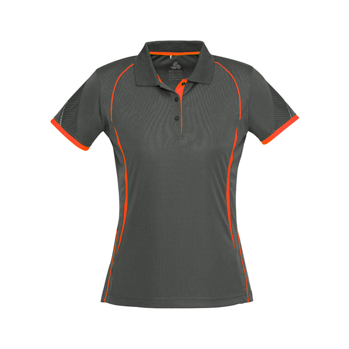 Ladies Razor Polo-Grey / Fluoro Orange
