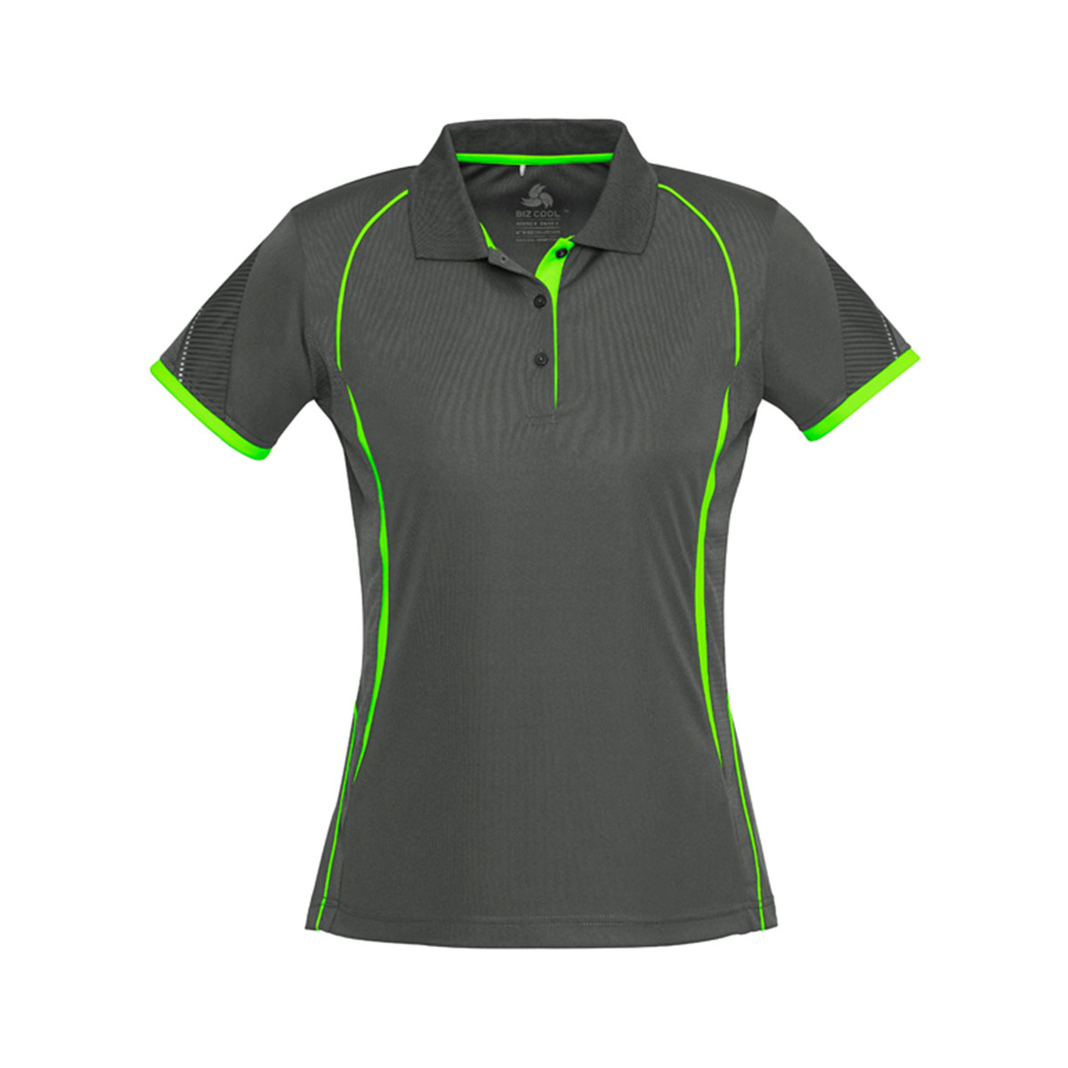 Ladies Razor Polo-Grey / Fluoro Lime