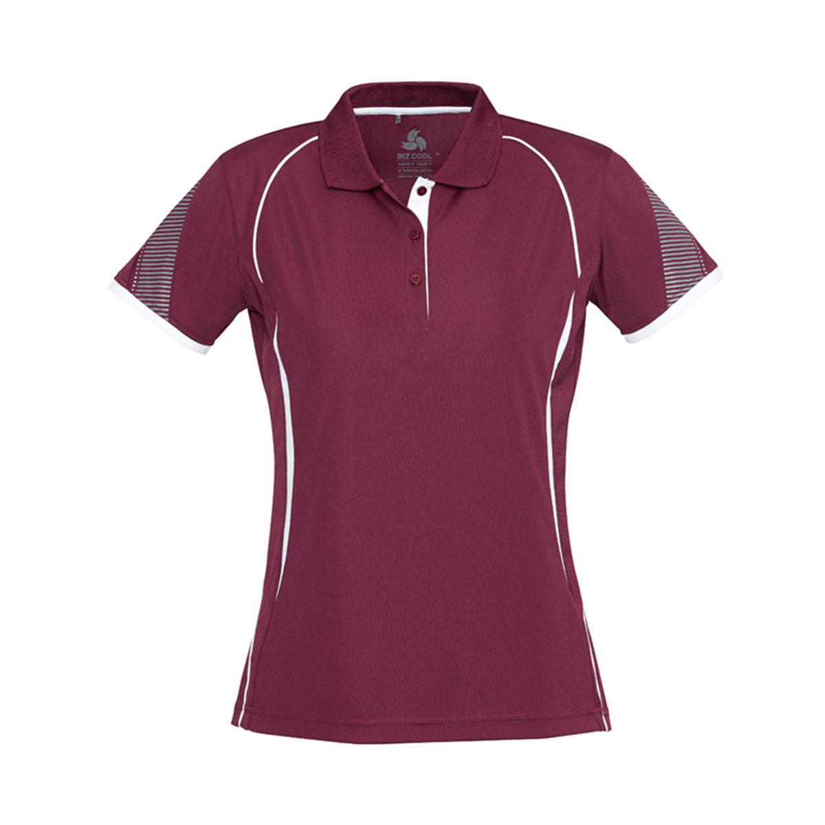 Ladies Razor Polo-Maroon / White