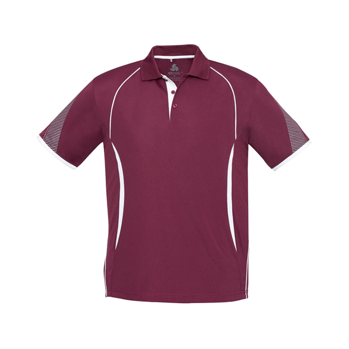 Mens Razor Polo-Maroon / White